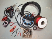 Homemade ham radio antennas parts and tools.