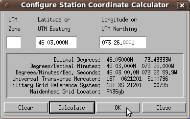 Configuring station coordinates on Xastir ham radio software.