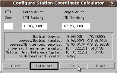 Configuring station coordinates on Xastir ham radio software.
