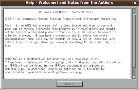 APRS ham radio software help section.
