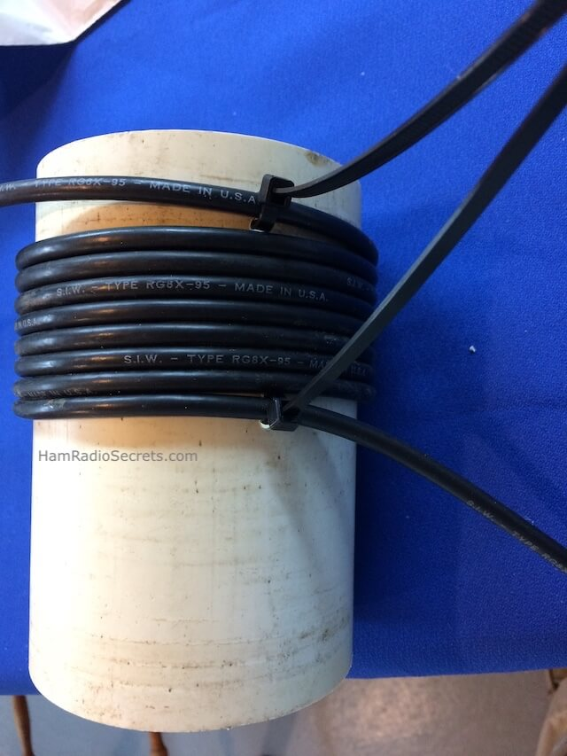 Coax RF choke on PVC tube with tiewraps uncut