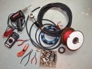 Ham radio antenna homebrewing parts and tools.