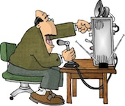 Ham radio cartoons. Amateur radio op in action.