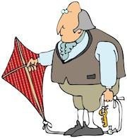 Ham radio cartoons. Benjamin Franklin invented the lightning rod.