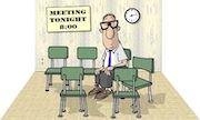 Ham radio cartoons. Ham radio club meeting without quorum.