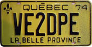 VE2DPE ham radio operator license plate.