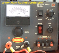 A ham radio power supply front panel.