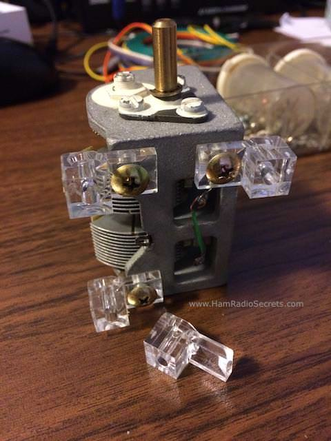Air variable capacitor with mounting hardware for the HF preselector.
