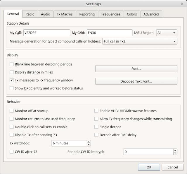 WSJT-X general settings