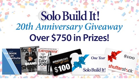 Solo Build It! 20th anniversary giveaway contest.