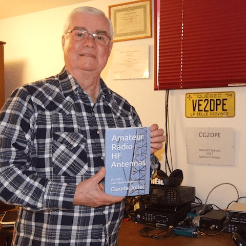 VE2DPE holding paperback version of Book-5 on Amateur Radio HF Antennas