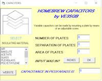 Capacitor homebrewing calculator software by VE3SQB.