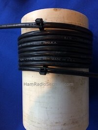 Coax RF choke held in place with tiewraps on a PVC tube