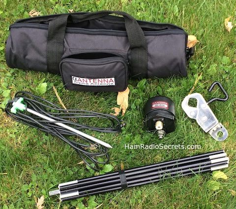 Alpha ezMilitary multiband HF vertical antenna carrybag and components.