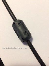 Ferrite RF choke closed on RG8X coax