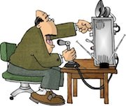 Ham radio cartoons. Amateur radio op in action.