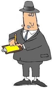 Ham radio cartoons. Government inspector at work.