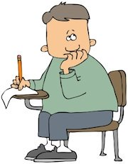 Ham radio cartoons. Aspiring ham taking test.