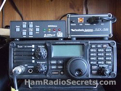 My main ham radio equipment: HF transceivers with HF antenna tuner.